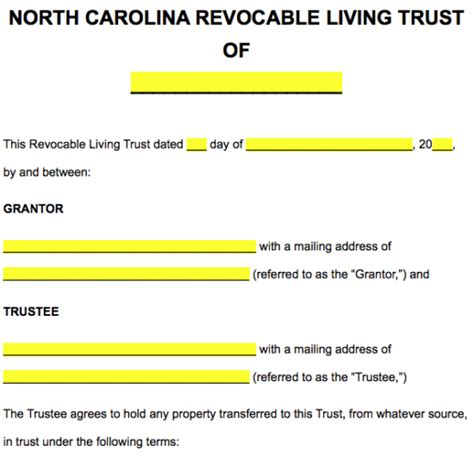 Free North Carolina Revocable Living Trust Form Word Pdf Eforms Free Fillable Forms Carolina Living Trust Template