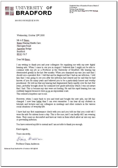 Recommendation Letter By Professor Binns Hearing Healthcare Hearing Aids Bradford West Uk