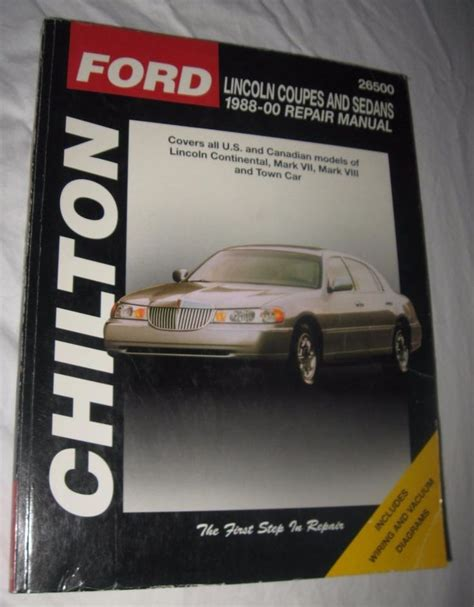 Chilton Repair Manual Lincoln Coupes And Sedans 1988 00