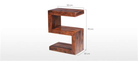 cube sheesham side table quercus living