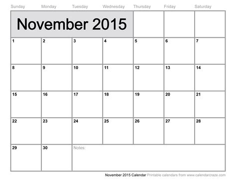 free printable monthly calendars november 2015 8 best images of calendar free pages monthly 2015