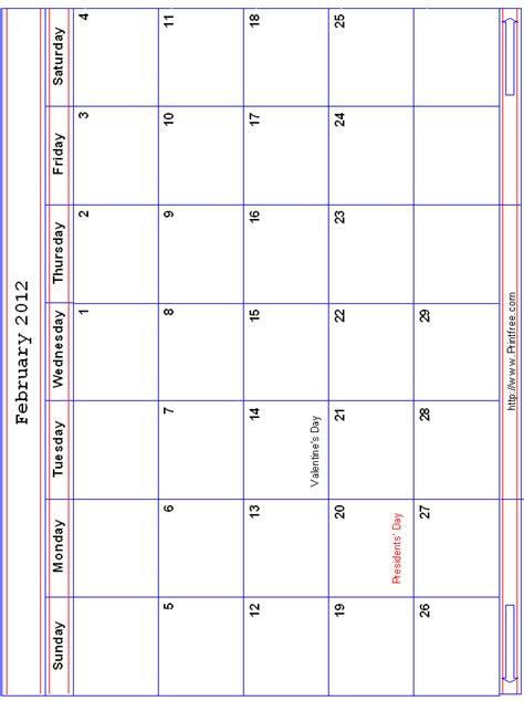 February 2012 Calendar February 2012 Large Rwb Monthly Calendar