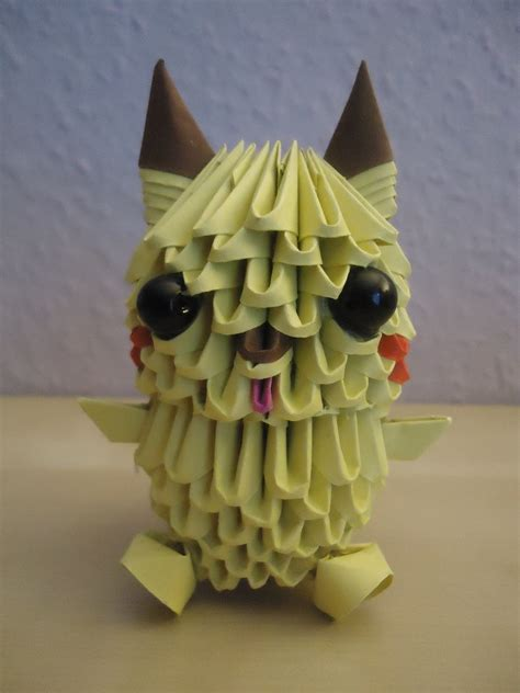 How To Make A 3d Origami Pikachu - 3d origami pikachu 1 by mixowelle on deviantart