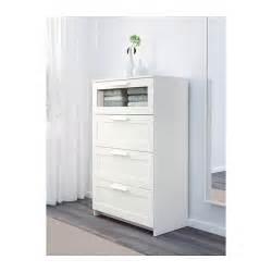 brimnes chest of 4 drawers white frosted glass 78x124 cm