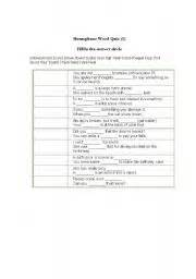 printable homophone quiz english worksheets homophone quiz