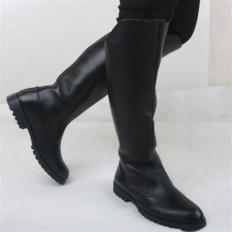 autumn winter mens elevator boots knee high
