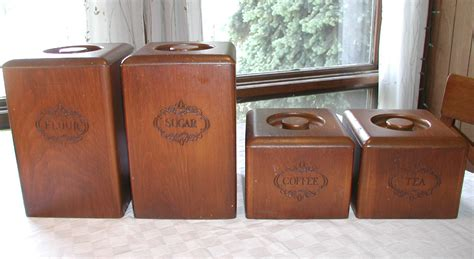 wooden canisters kitchen set of 4 vintage wooden kitchen canisters storage containers