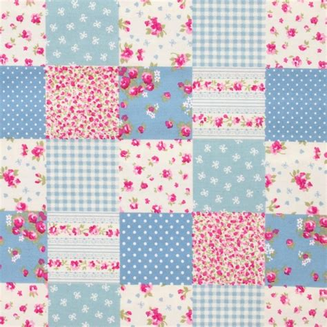 Patchwork Design Fabric - sevenberry patchwork floral blue poppies polka dots