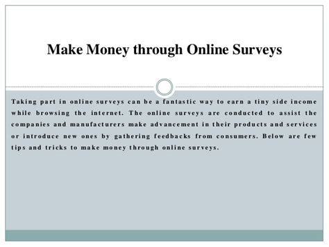 Earn Money Through Surveys - make money through online surveys