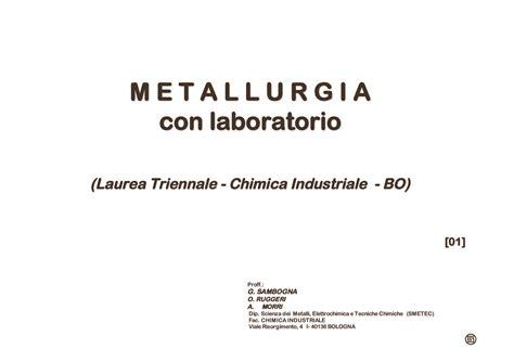 impianti chimici dispense metallurgia fondamenti dispense