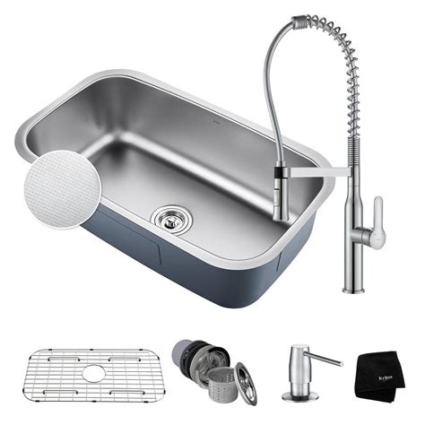 Kraus Stainless Steel Kitchen Sink Kraus Outlast All In One Undermount Stainless Steel 32 In Single Bowl Kitchen Sink With Faucet