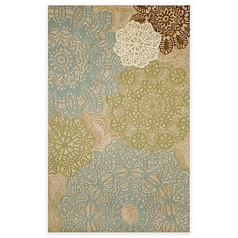 Transocean Rugs Indoor Outdoor Trans Crochet Indoor Outdoor Area Rug In Aqua Bed Bath Beyond
