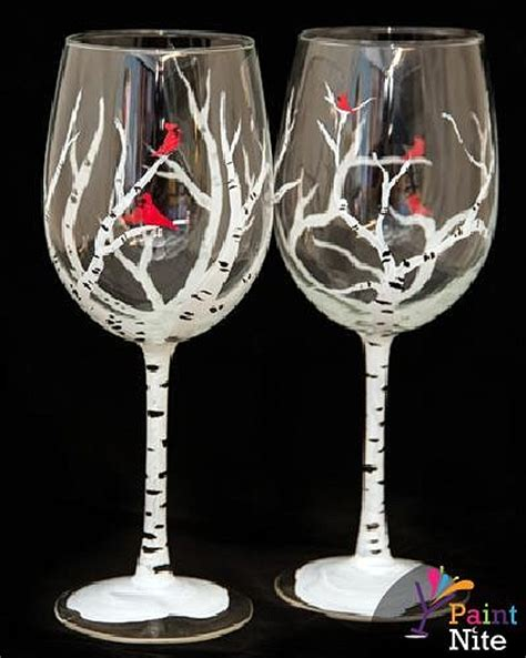 Paint Nite Winter Birches Wine Glasses