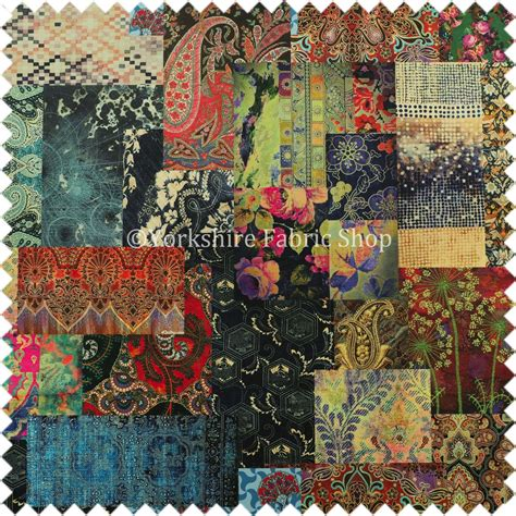Patchwork Fabrics - modern printed velvet patchwork multi coloured