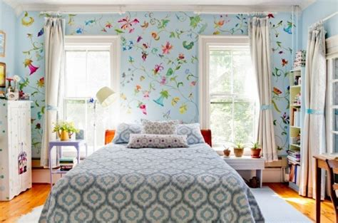 Flower Wallpaper Designs For Bedrooms How To Add Wall With Character Interior Designing Ideas
