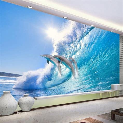 modern creative jumping dolphin  stereo mural wallpaper