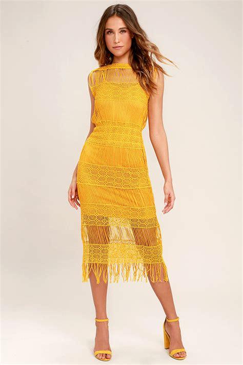 Mustard Dress by Mustard Yellow Dress Crocheted Lace Dress Midi