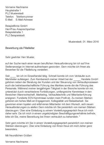 Initiativbewerbung Anschreiben Hesse Schrader Muster Gt Bewerbung Als Filialleiter