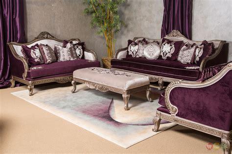 Zacharie 3pc Living Room Set Vintage Look Lisette Antique Style Carved Wood Royal Purple 3pc