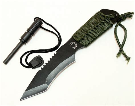 7 inch hunting knife tanto curved blade includes fire