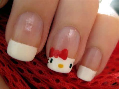 nail art tutorial hello kitty french tips cute hello kitty nail art youtube