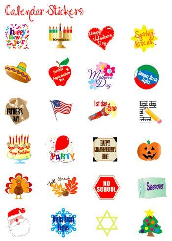 printable calendar stickers event stickers for kids to decorate their calendars