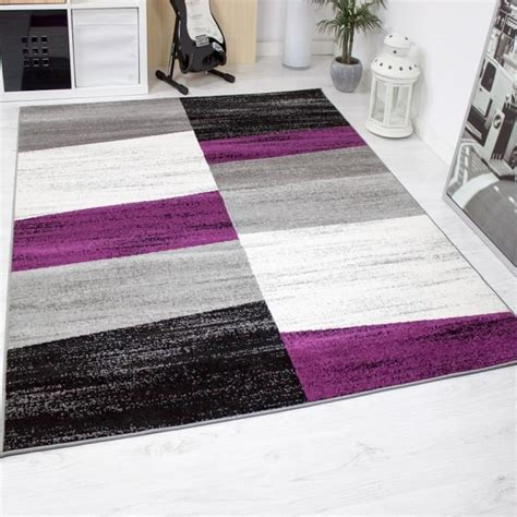 tapis violet et gris tapis de salon g 233 om 233 triques violet gris blanc et noir