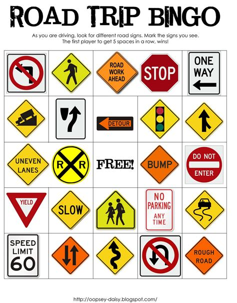 printable european road signs road trip bingo printable oopsey daisy