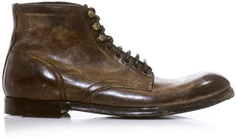 dolce gabbana distressed leather boots in brown for