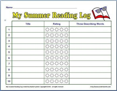 summer reading log template free summer reading log minds in bloom
