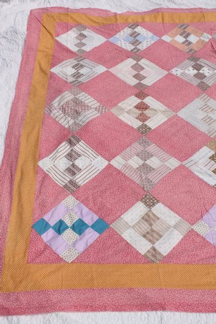 Orange Patchwork Quilt - primitive vintage patchwork quilt top coral pink