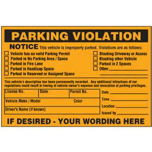 vehicle is improperly parked violation warning labels emedco