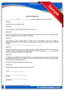 joint will and testament template free printable joint and will form generic
