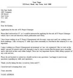 Cover Letter For Project Management by Cover Letter Exle It Project Manager Covering Letter