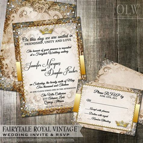 vintage fairytale royal wedding invitation by oddlotpaperie