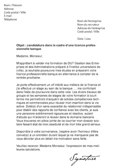 Exemple De Lettre De Motivation Université Licence Lettre De Motivation Licence Pro Banque Mod 232 Le De Lettre