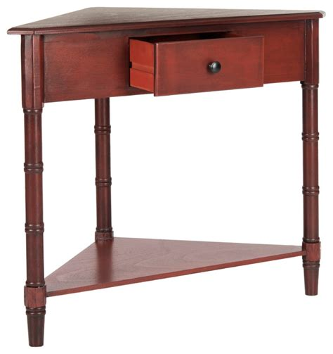 corner accent table with drawer safavieh gomez corner table with storage drawer red