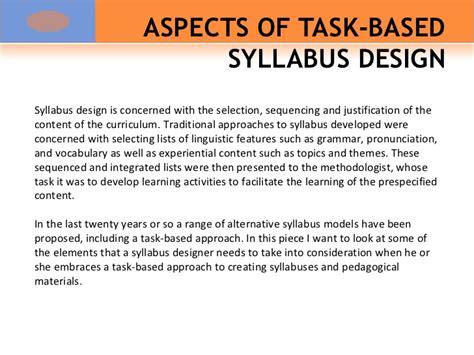 typography 1 syllabus aspects of task based syllabus design