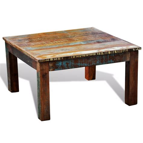 wood coffee table reclaimed wood coffee table square antique style vidaxl