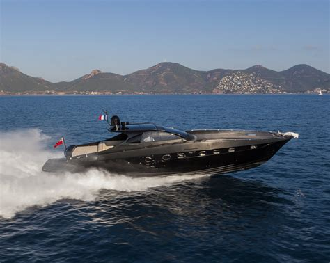 black speed boat otam 58 ht crazy too luxury yacht chase boat side view