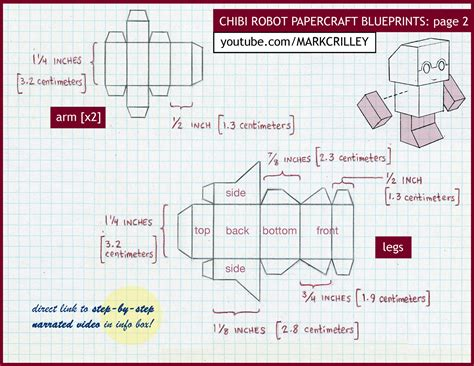 How To Make A Paper Robot - chibi robot papercraft blue print 2 by markcrilley on