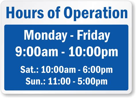 Business Hours Signs Hours Template