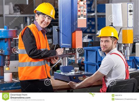 Production Worker by Production Worker At Workplace And Supervisor Stock Images Image 38257674
