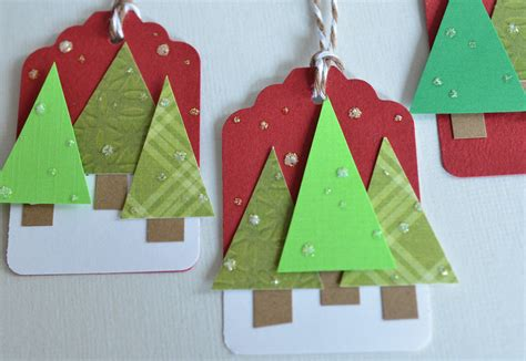 christmas gift tags trees handmade holiday tag 3d labels set