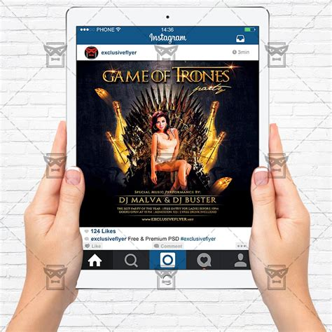 Game Of Thrones Party Premium Flyer Template Instagram Size Flyer Exclsiveflyer Free And Of Thrones Photoshop Template