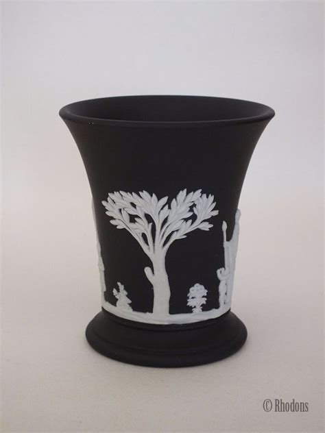 Wedgwood Black Basalt Vase by Wedgwood Basalt Black Jasperware Waisted Vase 3 75