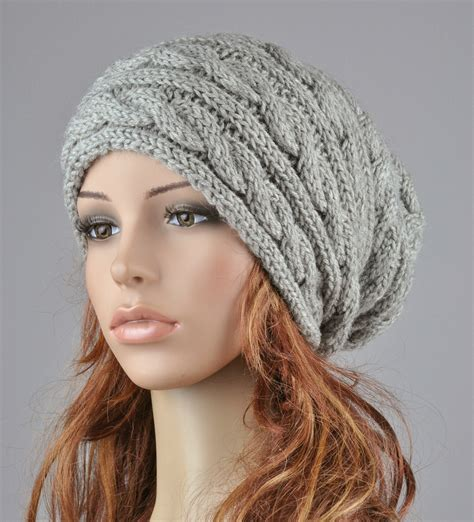 Knit Hat Grey Hat Slouchy Hat Cable Pattern Hat