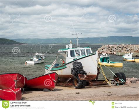 fishing boat trailer fishing boat on trailer royalty free stock photo image
