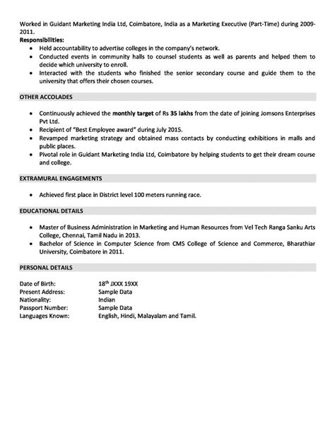 Resume Sles For 2 Years Experience sales and marketing resume sle for 2 years experience