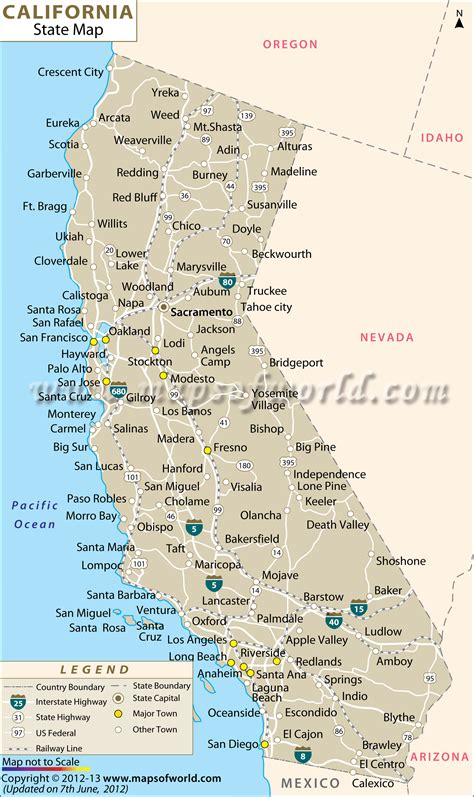 map of california cities free large images